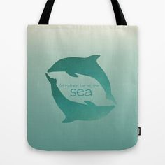 I'd Rather Be At The Sea Tote Bag by Jai Johnson - $22.00 #sea #ocean #beach #dolphins #art #design #tote