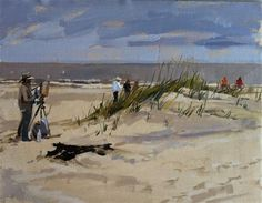 """Daily Paintworks - """"Artists painting on the beach"""" by Haidee-Jo Summers"""