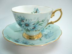 Royal Albert Marguerite Tea Cup and Saucer  Blue teacup and