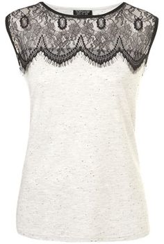 US Version of Eyelash Lace Shell Top - Topshop US