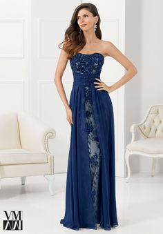 Navy Blue Mother Of The Bride Dresses Two Pieces With Jacket 2015 Lace Chiffon Evening Party Dress Evening Dress Long, Chiffon Evening Dresses, Formal Evening Dresses, Evening Gowns, Strapless Dress Formal, Lace Chiffon, Evening Party, Flowy Gown, Dress Lace