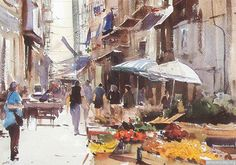 Market Day, Palermo, by David Taylor