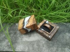 Proposal Ring Box, Beach Proposal, Engagement Box, Wedding Ring Box, Wedding Bands, Wooden Ring Box, Ring Bearer Box, Resin Ring, Square Rings