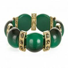 Emerald and Dirty Diamond Stretch Bracelet $24 www.capwell.co #jewelry