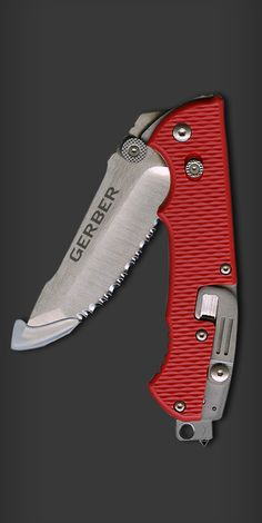 Hinderer Rescue Knife Red-BluntTip Serrated EDC emergency Folding Knife Blade - Everyday Carry Gear