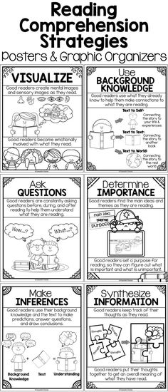 Research-based Reading Comprehension Strategies Posters (B& W or color), Graphic Organizers & Activities.  Support students in visualizing, making inferences, determining importance, using background knowledge, synthesizing information, asking questions, and monitoring comprehension.  Perfect for reading all fiction and nonfiction texts!