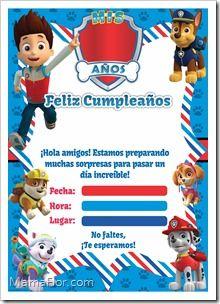 Joseph Tarjeta Invitacion Cumpleaños Patrulla Canina