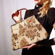 Vintage Whimsical Print and Rhinestone Handbag by NevermoreVintage, $38.00