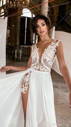 Sexy Wedding Dresses, Bridal Dresses, Lace Wedding, Wedding Dress Beach, Dresses Dresses, Slit Wedding Dress, Dress Lace, Lace Bridal Robe, Reception Dresses