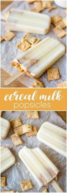Milk Popsicles Cereal Milk Popsicles - A creamy, sweet and cold way to enjoy your fave cereal.Cereal Milk Popsicles - A creamy, sweet and cold way to enjoy your fave cereal. Frozen Desserts, Frozen Treats, Cereal Milk, Paleo Cereal, Quinoa Cereal, Trix Cereal, Baby Cereal, Healthy Cereal, Granola Cereal