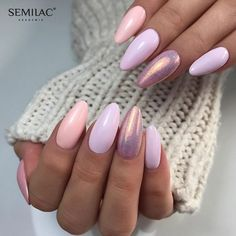 And pink nails, pastel nails, pink holographic nails, glitter nails, fabulo Acrylic Nails Stiletto, Gel Nails, Manicures, Coffin Nails, Simple Nails, Easy Nails, Nailed It, Mermaid Nails, Pastel Nails