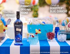 Make a splash with Pinnacle® Vodka. Premium vodka without the premium.   Pinnacle® Pool Party Punch 1 part Pinnacle® Original Vodka 2 parts lemonade Splash of Dekuyper® Blue Curacao  Combine ingredients in a punchbowl and serve over ice. Share with your best pool party peeps.