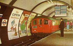 Tube train at Piccadilly Circus Underground Station, London, Artist: The Photographic Greeting Card Co Ltd Stock Photo London Underground Train, London Underground Stations, Vintage London, Old London, Tube Train, Swinging London, Piccadilly Circus, London History, U Bahn