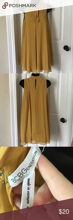 Chiffon Dress Worn only once. No flaws. Beautiful for fall. Mustard color. Double layered. BCBGeneration Dresses Mini