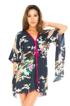 058d301e9743f Kimono Sleeves Tunic Dress Black -L/XL at Amazon Women's Clothing store:  SarongsCover UpFloral ...