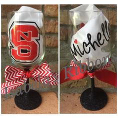 NC State Wine Glass - tailgating just got better!!!  Personalized!!!!  $20 ($5 ship USA)