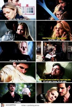 Comforting her had always been hooks first thought. Once Upon A Time Funny, Once Up A Time, Captain Swan, Captain Hook, Abc Tv Shows, Movies And Tv Shows, Ouat, Great Expectations Movie, Hook And Emma