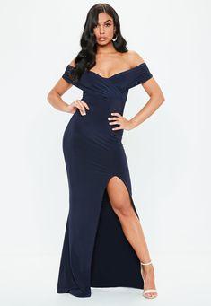 fa53a9ff04d Navy Bardot Wrap Slit Slinky Maxi Dress