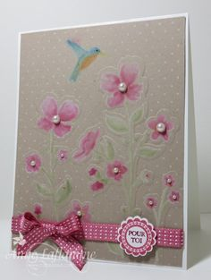 I stamped with Whisper White craft ink. I dried in the hot air gun. Stumps with pencils I applied the ink color Pear Pizzazz for the stems and Primrose petals for the open flowers. The flower buds are Raspberry Ripple. Its important to empty the pencil color to leave blank the craft show.