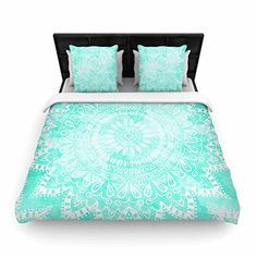 "KESS InHouse Nika Martinez ""Boho Flower Mandala in Teal"" Aqua Green Queen Woven Duvet Cover, 88 by 88-Inch, 88"" X 88"""" Kess InHouse http://www.amazon.com/dp/B019JIBXVI/ref=cm_sw_r_pi_dp_0qs6wb0EW8H9Q #mandala #mint #duvet #cover #boholook #bohochic #bohohomes #home #decor #interior #design #kessinhouse #nikamartinez"