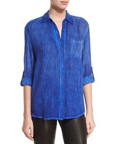 ALICE AND OLIVIA Piper Button-Down Shirt, Blue. #aliceandolivia #cloth #