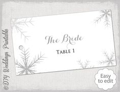 DIY Snowflake ecort card or favor tag template in gray for you to make your own flat card style wedding name cards with a snowflake design,