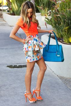 Neon orange top/heels + floral peplum skirt with complimentary bag