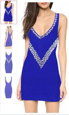 Blue Deep V-neck Beaded Bodycon #Bandage #Dress #bpdress  #skirt http://www.bpdress.com/blue-deep-v-neck-beaded-bodycon-bandage-dress.html#.U-Gcy7KcFUs