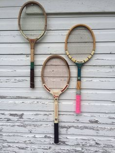 Trio of vintage tennis rackets- bold color