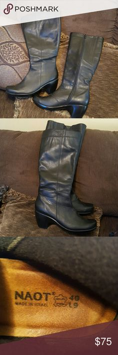 BEAUTIFUL NAOT LEATHER BOOTS These boots are so soft with a nice warm lining. Very little wear..worn maybe 5 times. These boots are 1op% quality.  I paid $300.0p new.  Size 10 but very comfortable for a 9 or 9.5. naot Shoes Heeled Boots