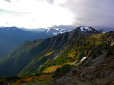 Sun breaking from blow Lone Tree Pass in the Bailey Range - Olympic National Park