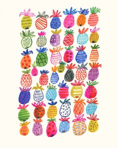 Print of a fun original watercolour painting of Pineapples in all shapes, colours and textures PRINT • size 8.75 x 11 • vertical orientation • printed on heavy 80lb. Cardstock. 100% Post-consumer Recycled and acid free • archival inks • signed and dated on the back SHIPPING INFO: • print will be packed in a sealed clear 100% biodegradable bag, safe and snug with a thick backing board, and shipped inside a rigid protective envelope • proof of mailing with each item is provided. Please allow…