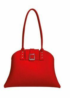 Käsilaukku huopaa punainen. Hinta 76€