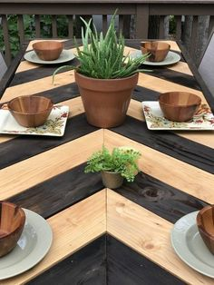 Herringbone Patio Table Fischgrätenmuster Patio Tisch This image has get Backyard Projects, Diy Wood Projects, Outdoor Projects, Furniture Projects, Mosaic Projects, Wood Patio, Diy Patio, Backyard Patio, Patio Dining