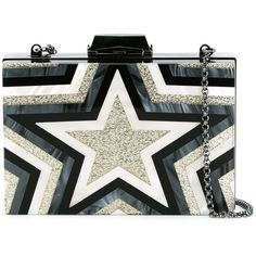 Kotur Star Print Clutch (£565) ❤ liked on Polyvore featuring bags, handbags, clutches, black, star purse, kotur, kotur clutches and kotur handbags