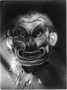 Kwakiutl person wearing a mask of the mythical creature Pgwis (man of the sea), 1914. #history #vintage