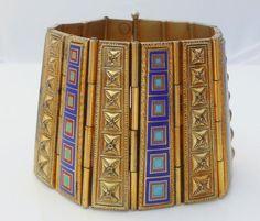 Egyptian Revival Enamel Wide Bracelet by Libbysmomsvintage on Etsy
