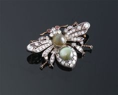 antique bee jewelry | Antique Cats Eye Chrysoberyl and Diamond Bee Pin ~ | A Jewelry Insects