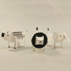 Image of Paper animals: LION ZEBRA ELEPHANT (Limited Edition) Fideli Sundqvist