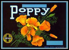 Vintage Fruit Crate Label  POPPY ORANGES ca by RosiesVintagePrints, $15.00