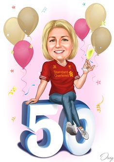 It is the lady birthday. She is wearing a Liverpool football club shirt blue jeans and white sneakers. She is sitting on the number 50 and holding a glass of bubbly. Mom Birthday Crafts, 80th Birthday Gifts, Happy Birthday Parties, Mom Drawing, Happy Birthday Woman, Candy Bar Posters, Female Images, Lady Images, Birthday Cartoon