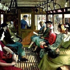 I think this painting is called The Tram Ride, and I think it is by a painter called Robert Sawyer or Sawyers, but I have lost the info about it. I'm guessing it was painted in the probably in. The Middle Characters, Famous Pictures, English Artists, Cultural, Art For Art Sake, Oil On Canvas, Illustration Art, Sketches, Fine Art