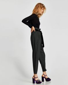 CONTRASTING STRIPED TROUSERS-View all-TROUSERS-WOMAN | ZARA $70