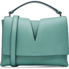 Jil Sander Leather Tote (24 305 UAH) ❤ liked on Polyvore featuring bags, handbags, tote bags, turquoise, leather tote bags, tote shoulder bags, leather man bags, leather handbags and green leather tote bag