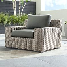 Cayman Outdoor Ottoman with Grey Cushion + Reviews | Crate and Barrel