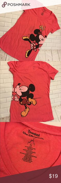 ✨Disney Mickey & Minnie Kissing shirt✨ Gorgeous Mickey/Minnie kissing shirt! Size S. No stains or rips. Great condition! & very comfy! Color is pinkish/reddish. Disney Tops Tees - Short Sleeve