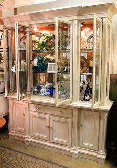 Beautifully Refurbished China Cabinet in a beachy sand color with gold accents… China Hutch Makeover, Gold Accents, China Cabinet, Dining Rooms, Cabinets, Things To Come, Kitchen, Furniture, Color