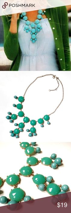 J. Crew Authentic Green Faceted Bubble Necklace Gently used, all beads are in tact. Adjustable closure. I'm not sure if the first pic is the exact necklace but it will give you an idea of scale. Two shades of green, one is a little bluer than the other. Sorry, no trades. J. Crew Jewelry Necklaces
