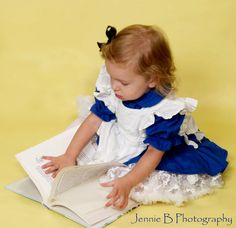 Alice In Wonderland Costume - Dark Blue Dress and White Pinafore Size 1T, 2T, 3T, 4T on Etsy, $47.00