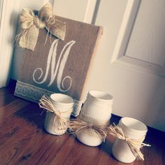 Monogrammed burlap canvas & mason jars